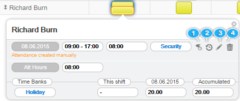 Attendance tooltip