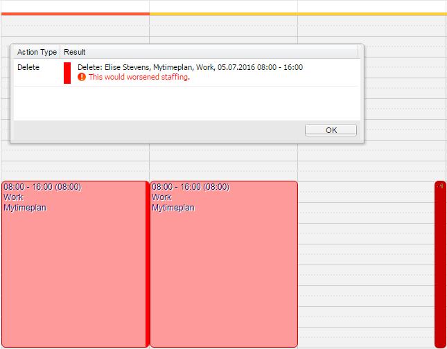 Blocked shift deletion.