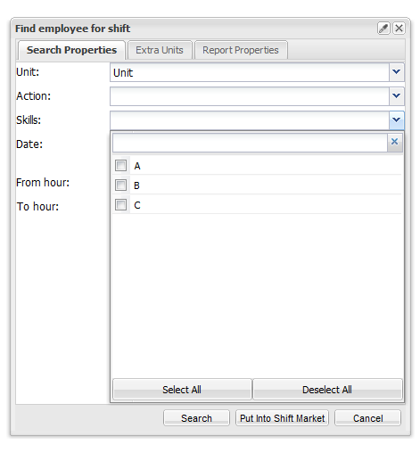 Skills Filter for find employee for shift