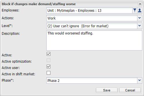 Block if changes make demand/staffing worse