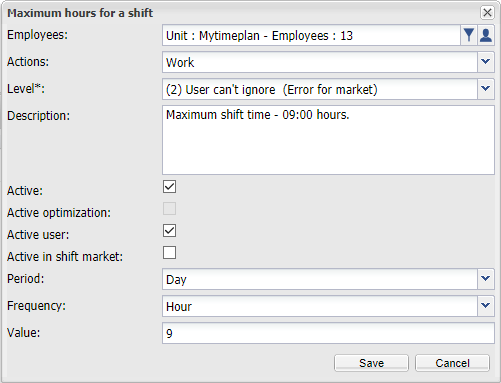 Maximum hours for a shift