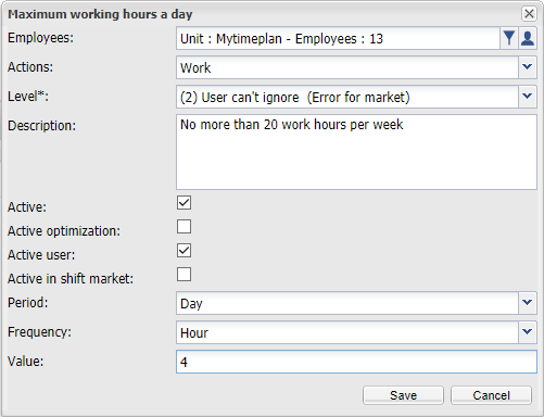 Maximum working hours a day