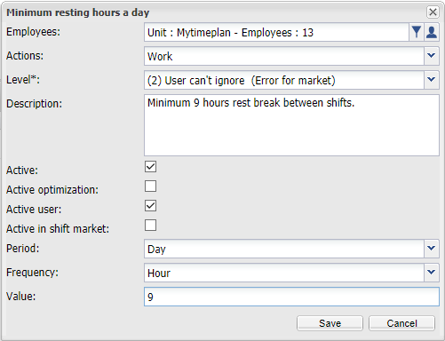 Minimum resting hours a day.