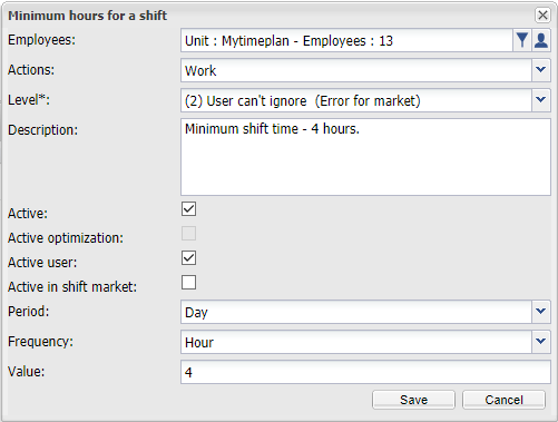 Minimum hours for a shift
